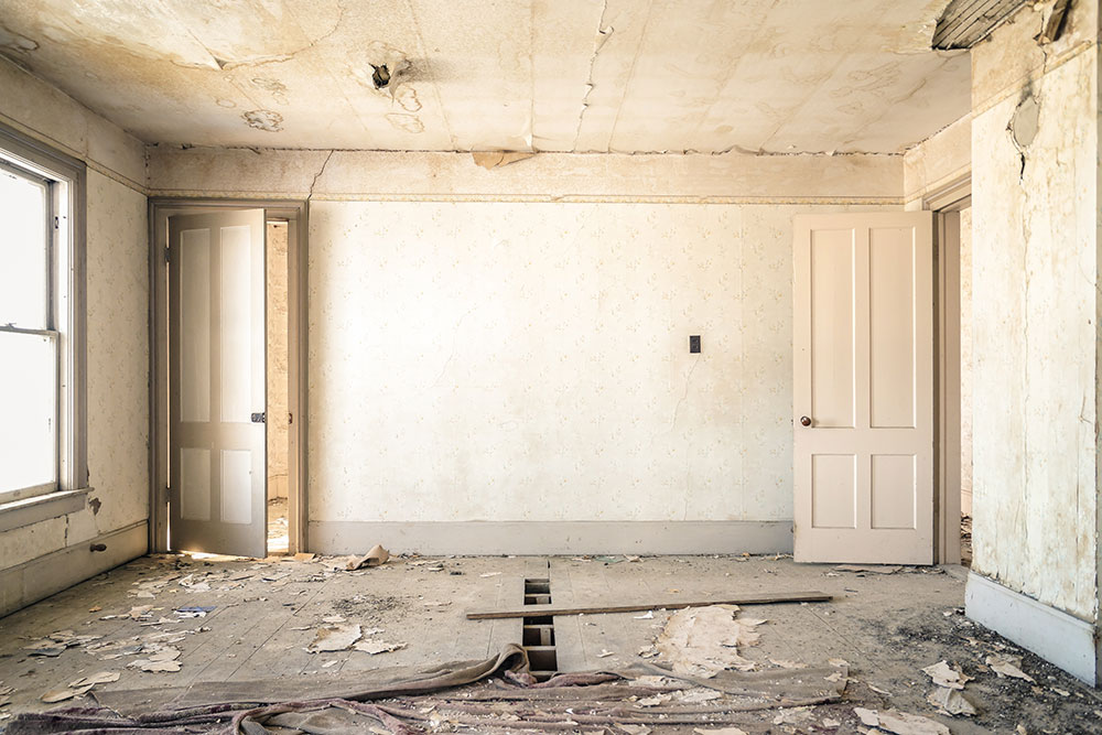A dilapidated room