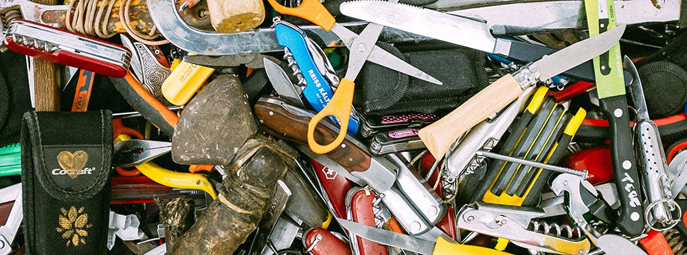 A pile of hardware tools