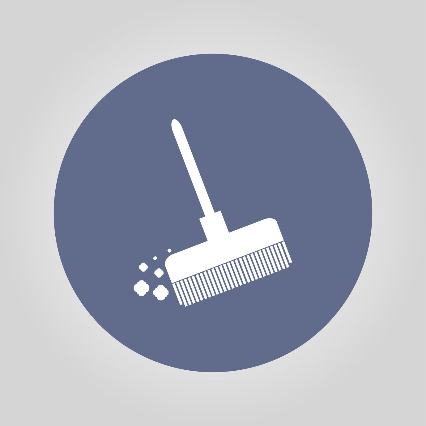 Vector image of sweeping broom