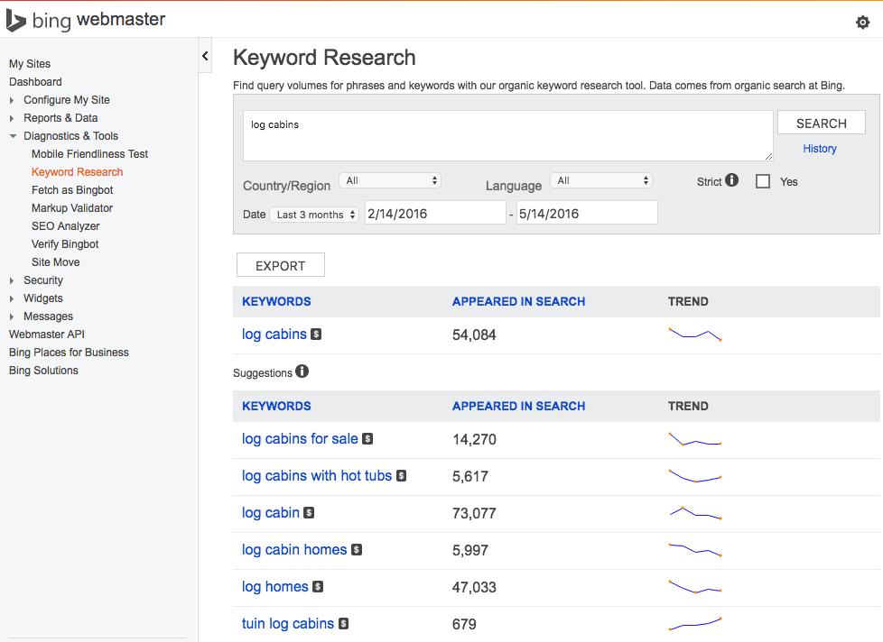 Bing Webmaster Tools Keyword Research