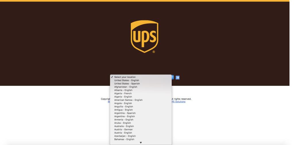 UPS splash page
