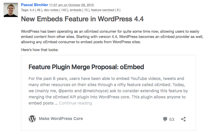 WordPress as oEmbed Provider