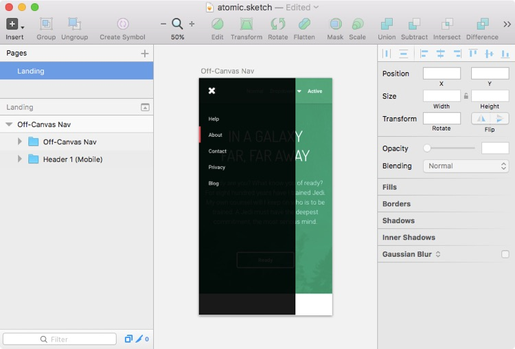 Designing the screen in Sketch