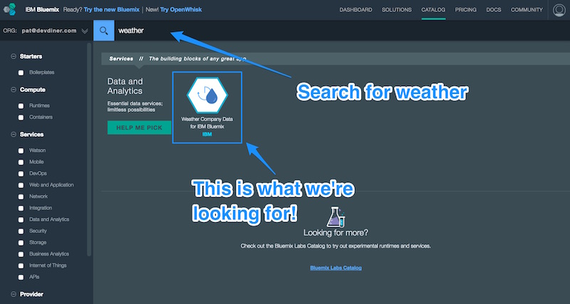 Finding the weather service in Bluemix