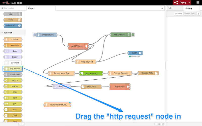 Dragging a new http request node