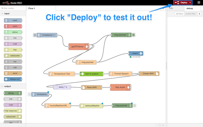Clicking deploy to test it out