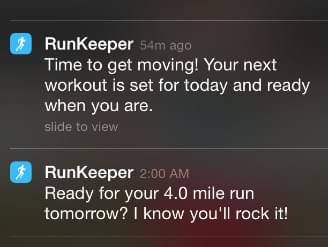 Run keeper motivational messages