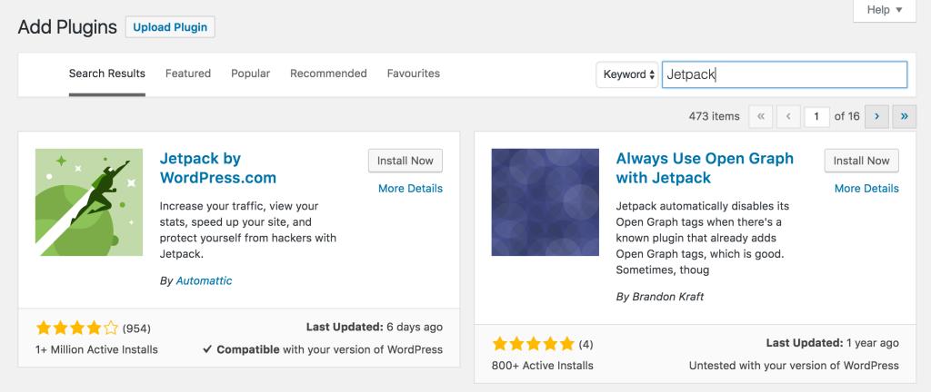 Installing Jetpack Plugin for WordPress