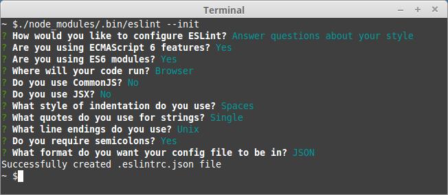 Successfully created .eslintrc.json file