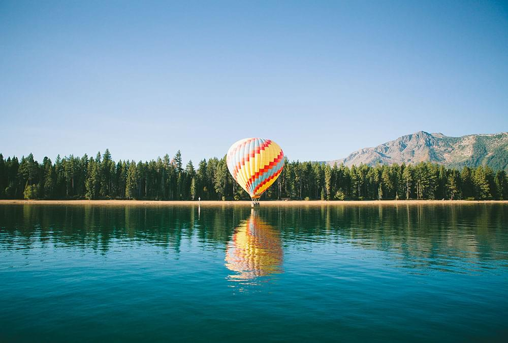 Hot air balloon on the water