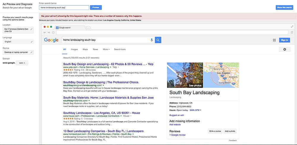 AdWords Ad Preview and Diagnosis tool