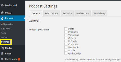 Seriously Simple Podcast Settings