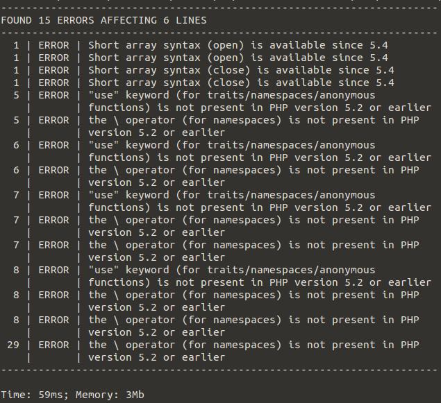 PHPCompat Test run