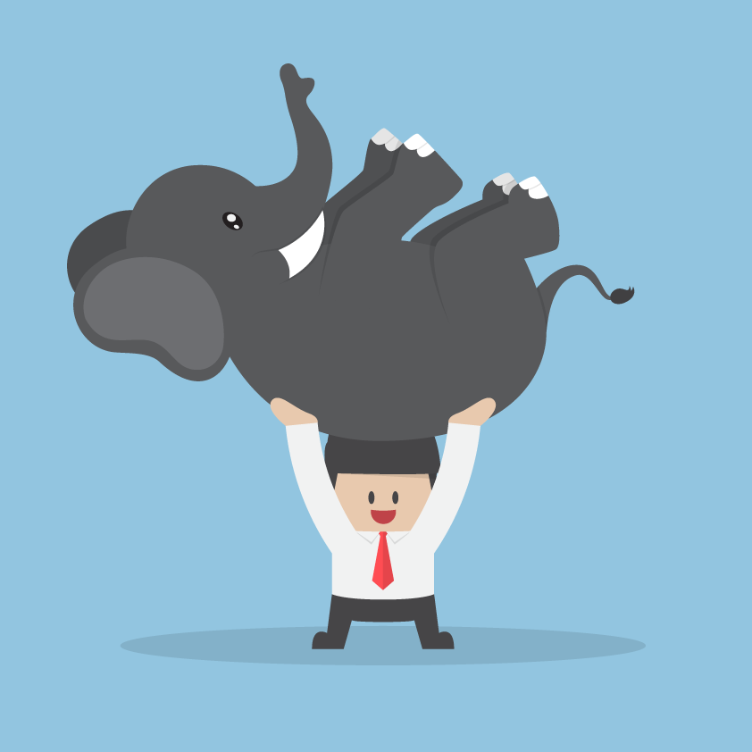 Illustration of a programmer holding up an elephant