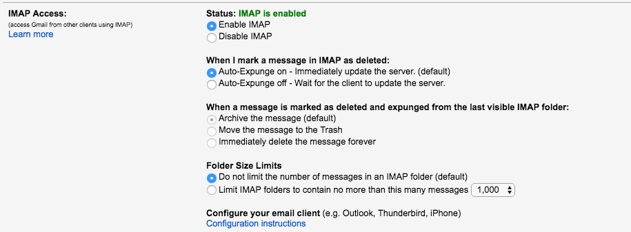 Enabled IMAP in Gmail
