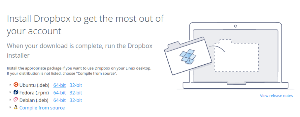 Choosing the Dropbox Ubuntu 64-bit version