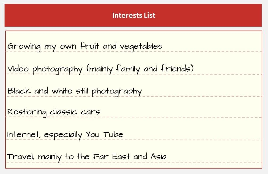 interests for online dating