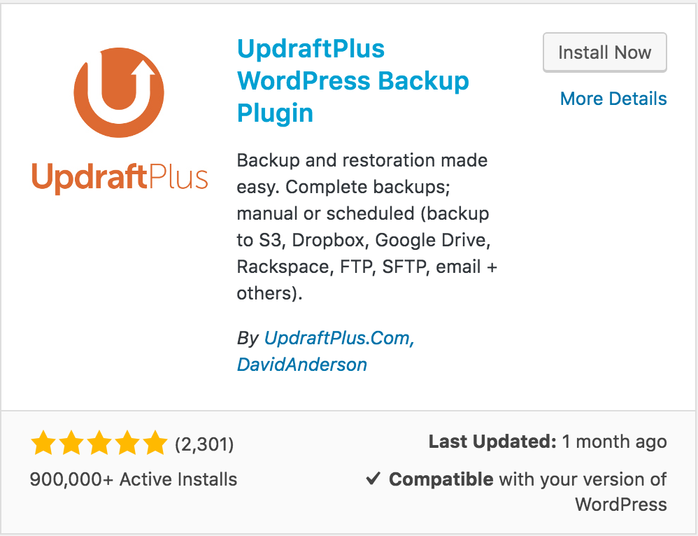 Updraft Plus - Showing harmony with WordPress