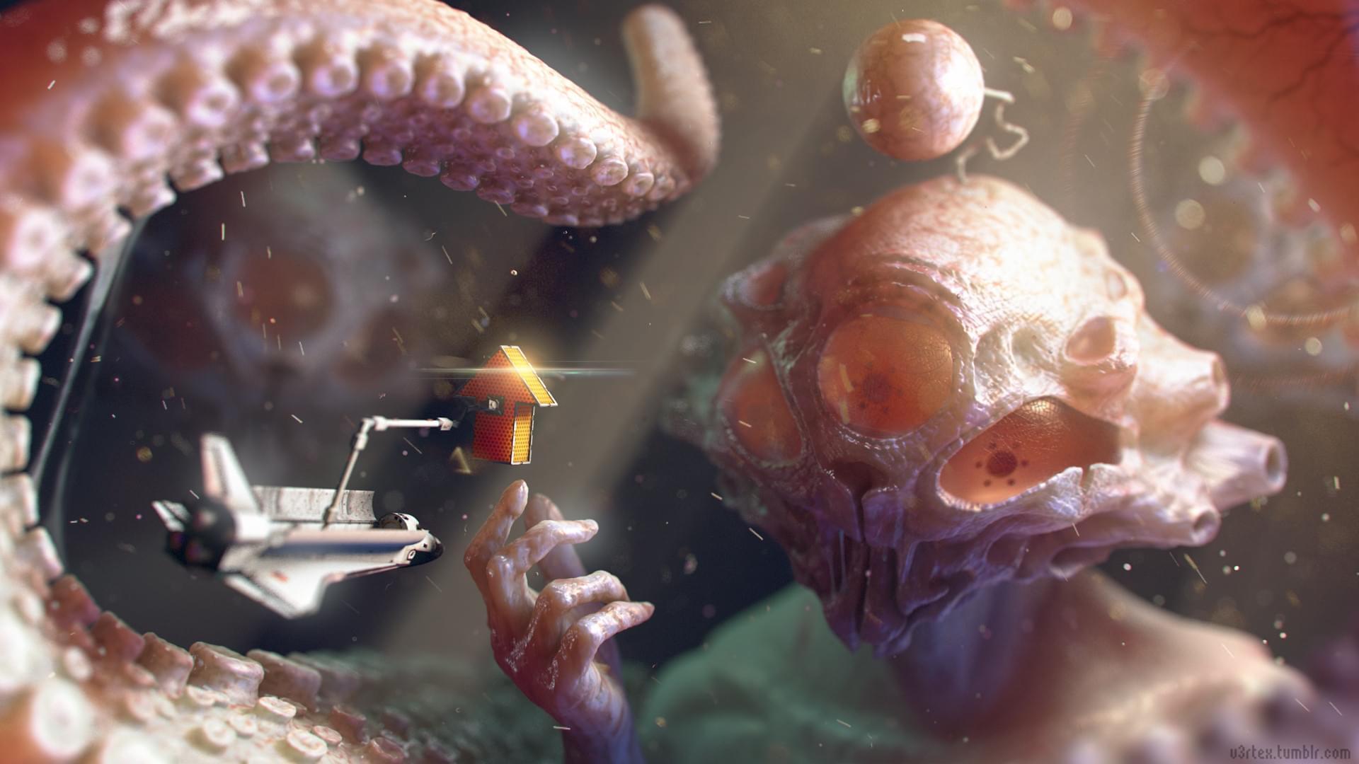 Realistic Reddit Alien Painting