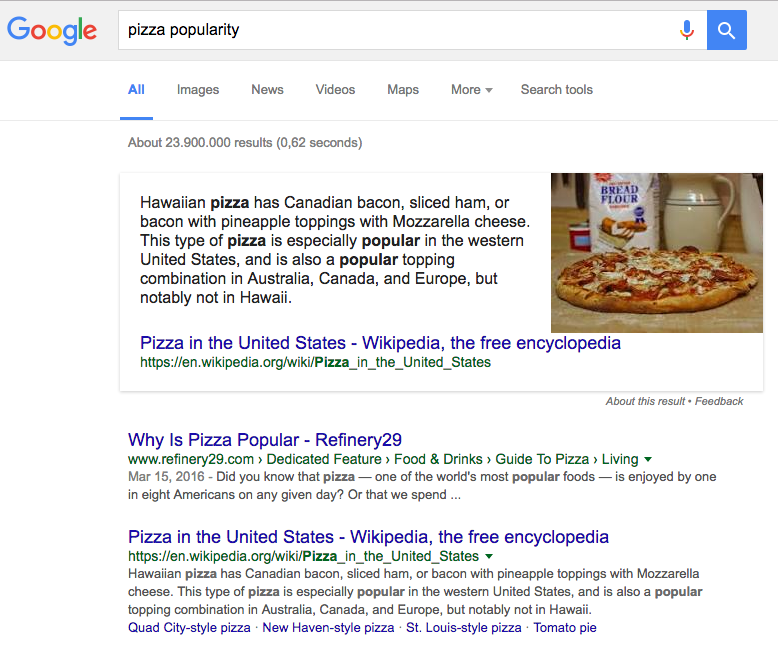 Pizza popularity featured snippet