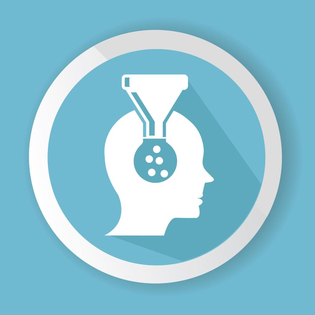 Vector illustration of knowledge being poured into brain