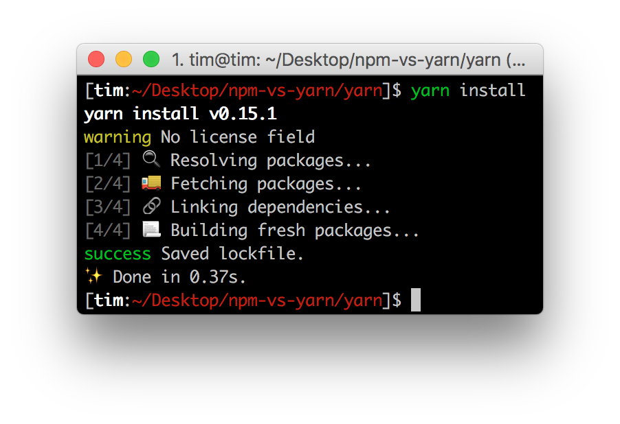 "The output of the ""yarn install"" command"