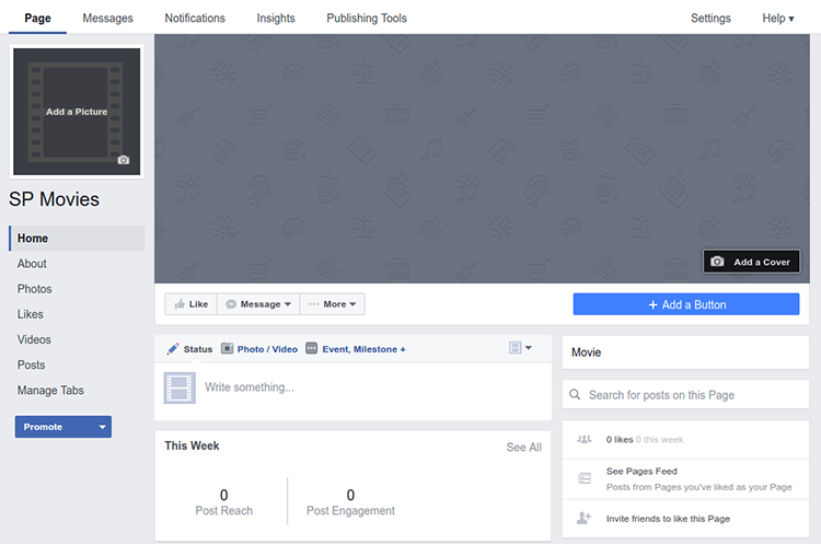 screenshot of the newly created Facebook page