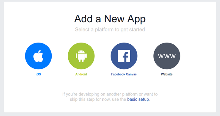 Screenshot of the 'Add a New App' page, prompting to select a platform