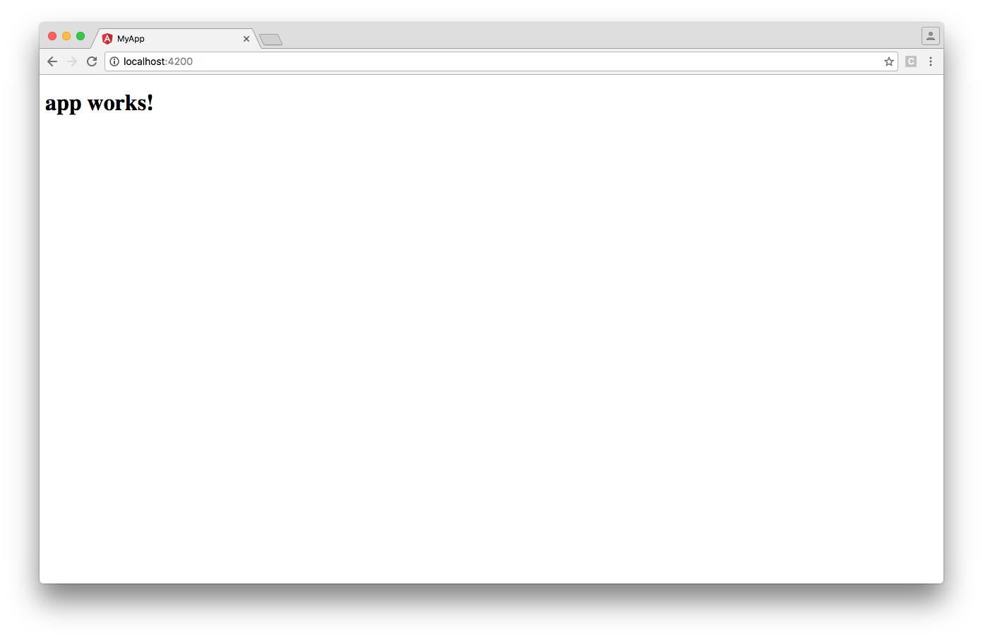 Angular CLI: Browser window showing 'app works!' text