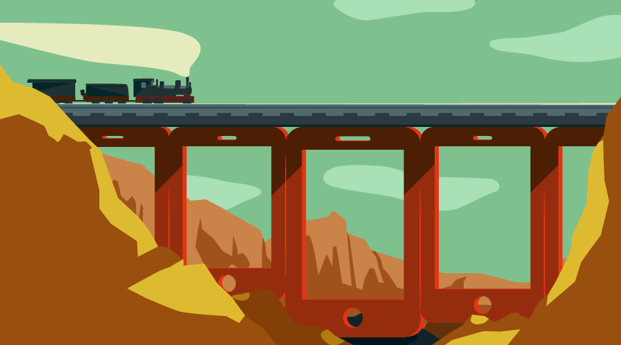 Train going over a bridge of iDevices