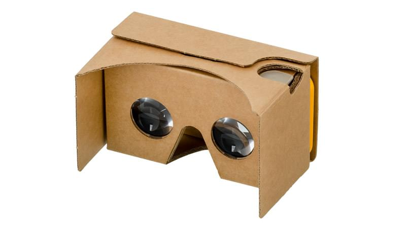 A Google Cardboard headset