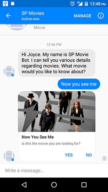 Example of a Structured Message from the Facebook chat bot