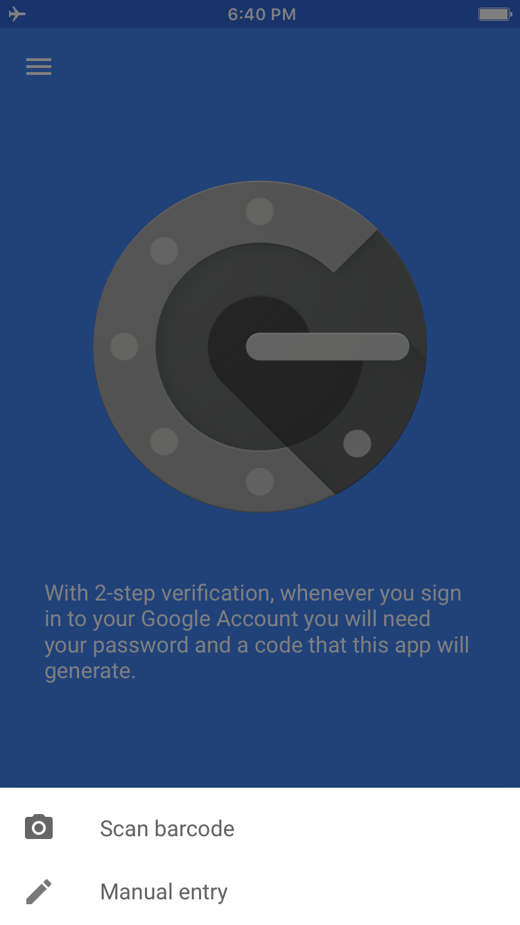 Screenshot of the Google Authenticator splash screen