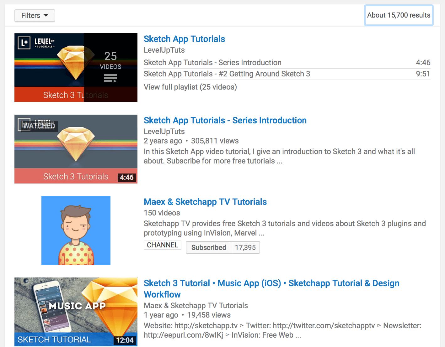 Sketch tutorials on YouTube