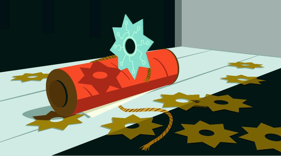 Shuriken embedded in a scroll