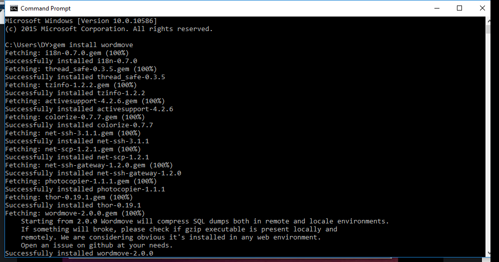 Wordmove Capture - Command Prompt