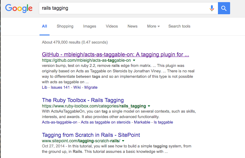 "Figure 10-1. Searching for a plugin on ""rails tagging"""