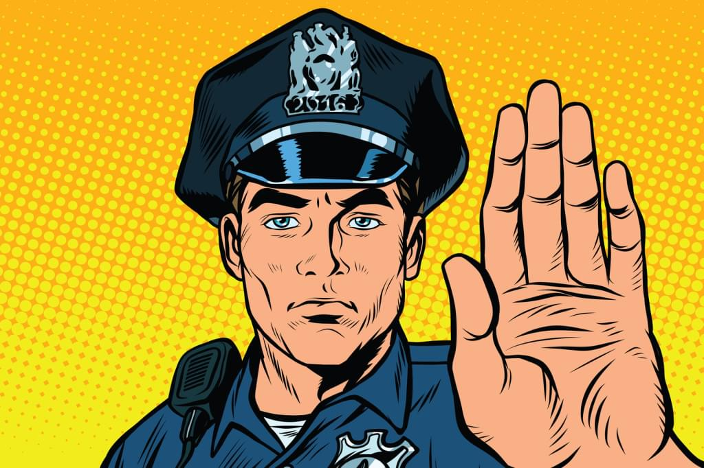 Policeman illustration holding up an open palm towards the viewport as if to say 'stop'