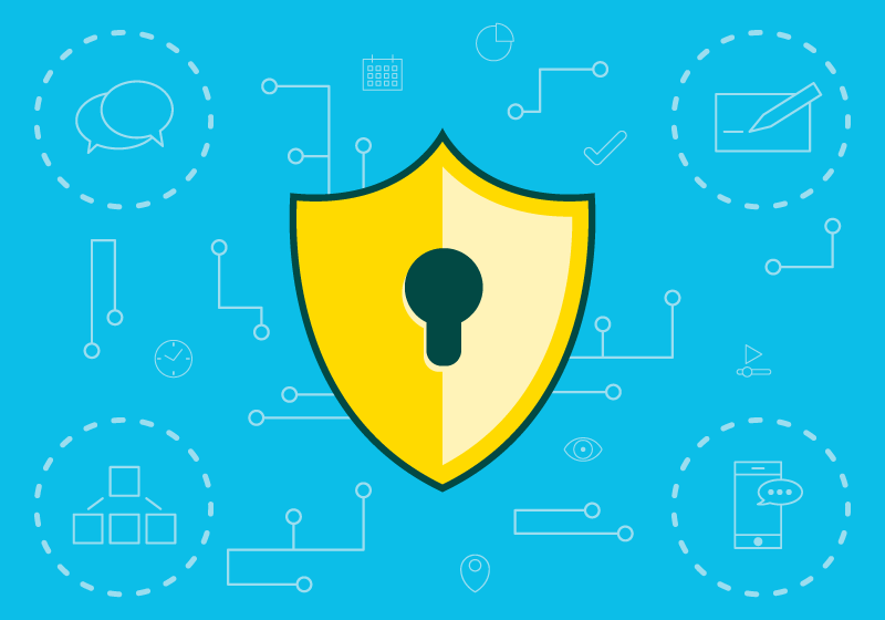 Illustration of shield with lock icon in front of digital content