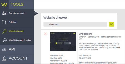WhoAPI website status panel
