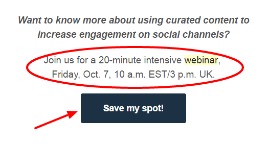 Webinar call-to-action