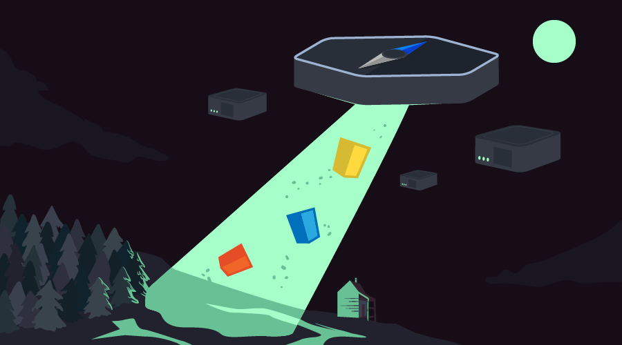 An NW.js UFO ship picking up JS,CSS and HTML logos, with device shaped UFOs hovering in the background