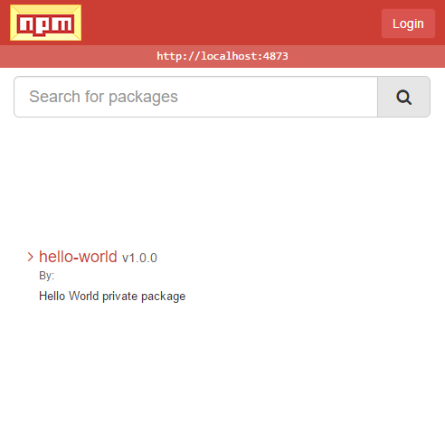 Registry Browser showing hello-world package