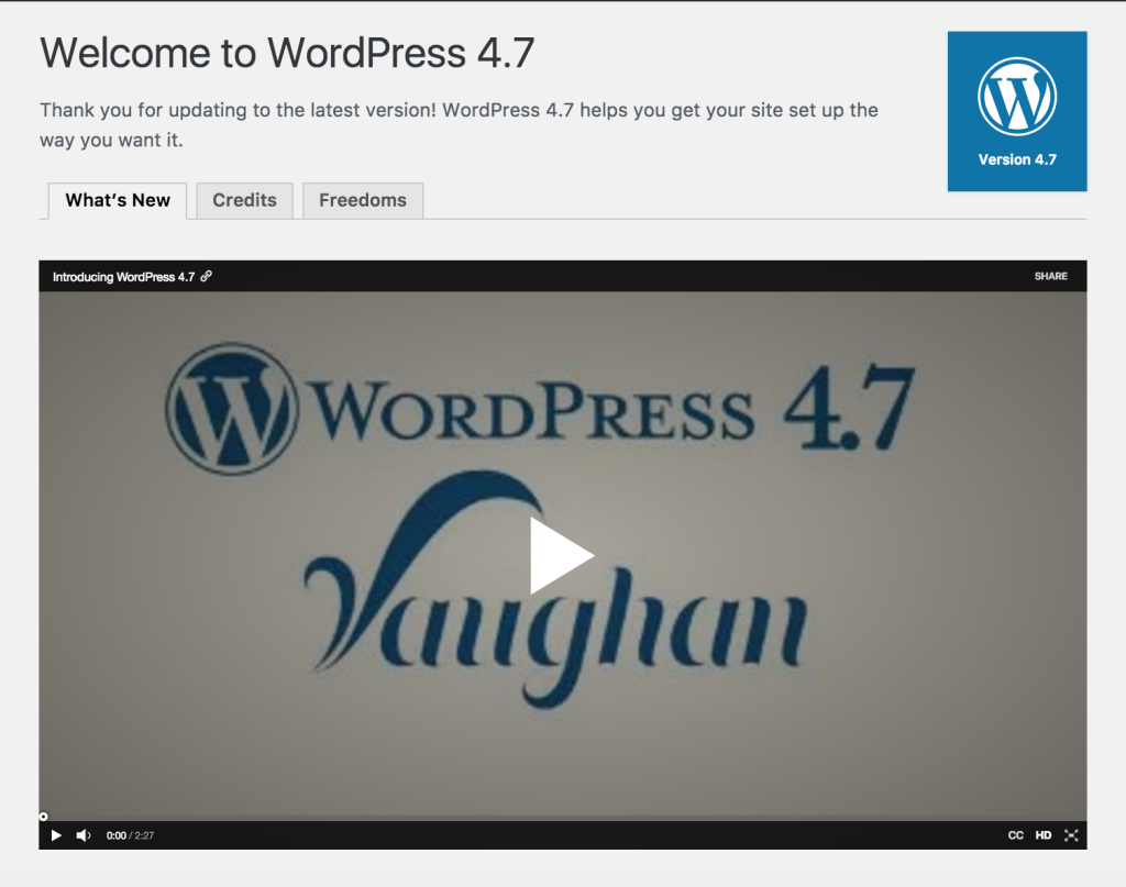 WordPress 4.7 Welcome Screen