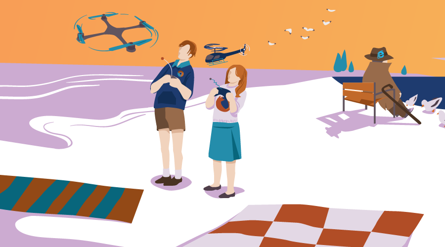 An illustration of a boy and girl with Chrome and Firefox logos playing with new technology at the park while an old man with an IE logo feeds ducks