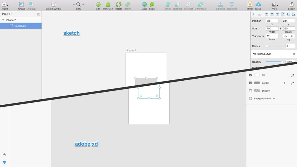 Similarities in the UI of Sketch and Adobe XD