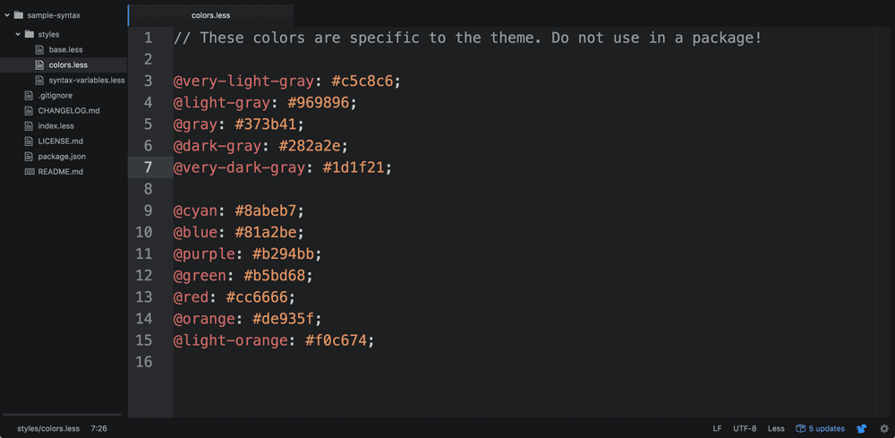 The initial theme colors.less file