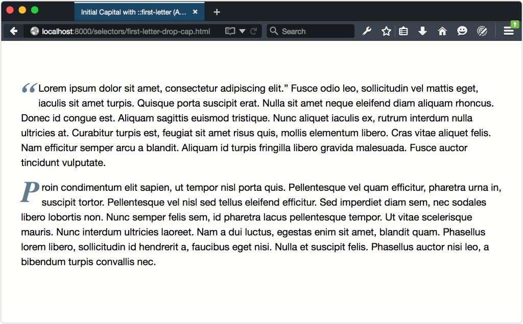SelectorsFirstLetterAndQElement.Firefox