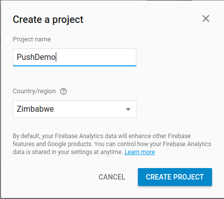 Create New Firebase Project