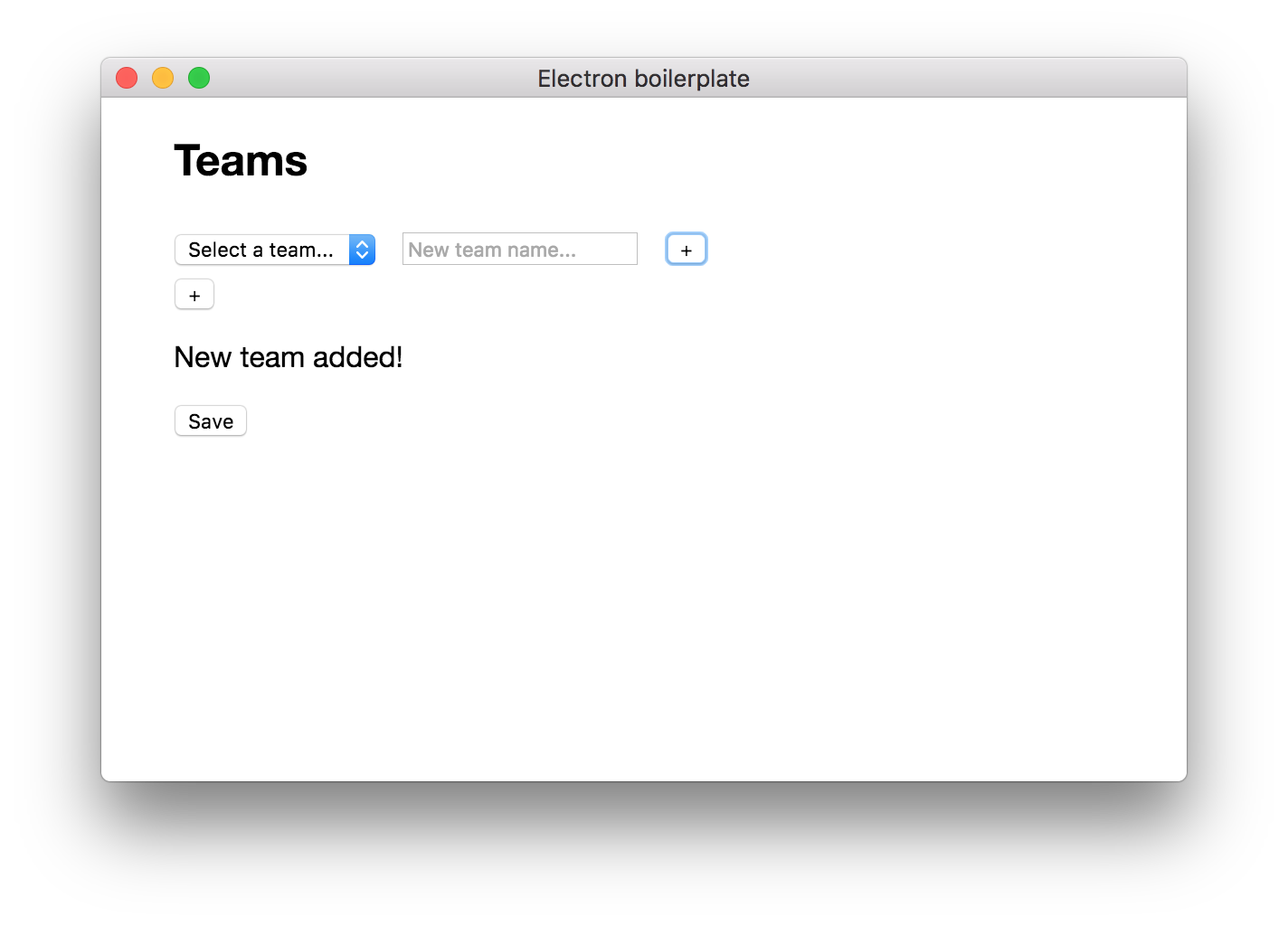 The 'New team added!' success message